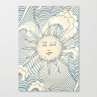 Sun sitting amongst the ocean Canvas Print
