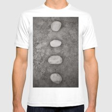 Lined up White Mens Fitted Tee SMALL