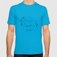 Pembroke Welsh Corgi - Hello Mens Fitted Tee Teal SMALL