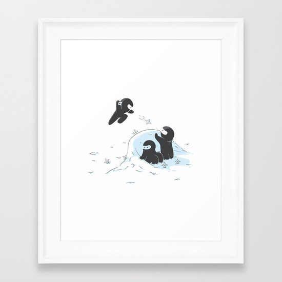Ninjas do not camouflage well in winter Framed Art Print