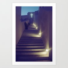 Greek Church at Dusk Art Print