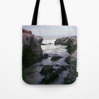 Dark And Rocky Coastline Tote Bag