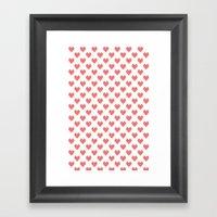 Pixel Hearts Framed Art Print