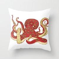 Flowered Octopus Throw Pillow