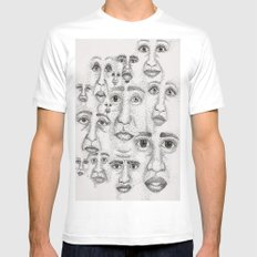 Faces White SMALL Mens Fitted Tee