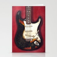 Burnt guitar Stationery Cards