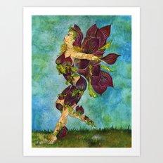 Fairy of The Slipper Orchid Flower Art Print