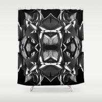 Black & White Warp I Shower Curtain