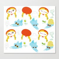 red riding hood pattern Canvas Print