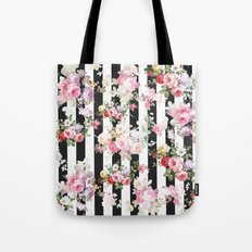 Bold pink watercolor roses floral black white stripes Tote Bag