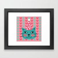 Cat Party Hat Framed Art Print
