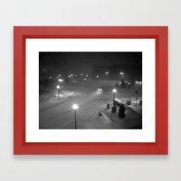 A Car In The Snowy Night… Framed Art Print
