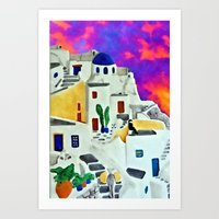 Greek Island Sunset Art Print