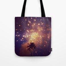Palm tree fireworks Tote Bag