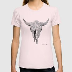 Bull Skull Womens Fitted Tee Light Pink SMALL