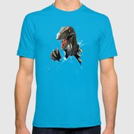 Dinosaur Mens Fitted Tee Teal SMALL