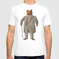 Mr. Bear Mens Fitted Tee White LARGE