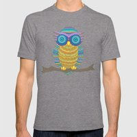 Henna Owl Mens Fitted Tee Tri-Grey SMALL