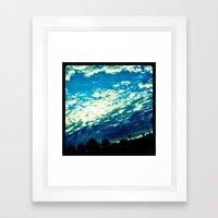 Over the shoulder clouds. Framed Art Print