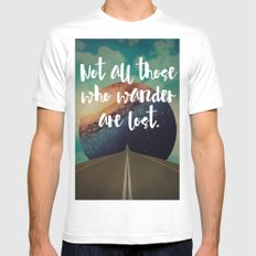 Vintage Quotes Collection -- Not All Those Who Wander Are Lost White SMALL Mens Fitted Tee