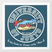 University of Johto - White Outlines! Art Print
