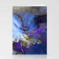 Blue Abstract Flower And… Stationery Cards