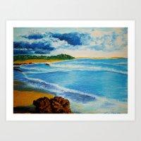 Cloudy Beach Art Print