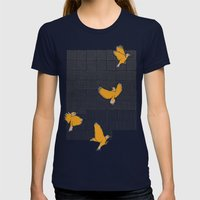 Pencil Birds Womens Fitted Tee Navy SMALL