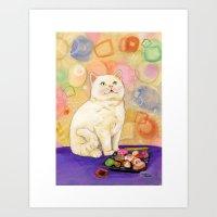 Sushi Cat In love Art Print