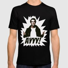 HAPPY DAYS  |  FONZIE  |  AYYY! Mens Fitted Tee Black SMALL