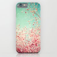 Blue Autumn, Pink leafs on blue, turquoise, green, aqua sky iPhone 6 Slim Case