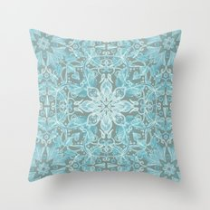 Soft Teal Blue & Grey hand drawn floral pattern Throw Pillow
