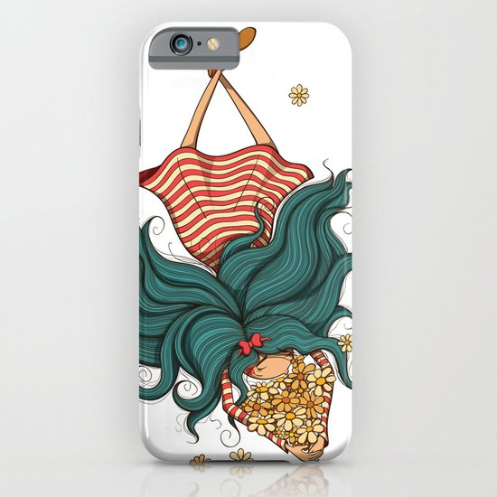 Girl and flowers iPhone & iPod Case