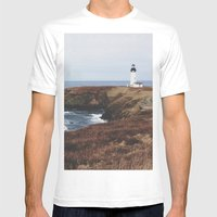 Yaquina Head Lighthouse Mens Fitted Tee White SMALL