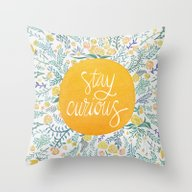 Throw Pillow featuring Stay Curious by Cat Coquillette