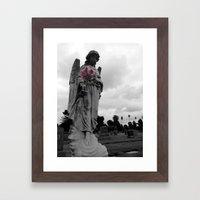 Angel holding Flowers Framed Art Print