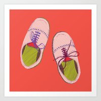 Polka Dot Shoes Art Print