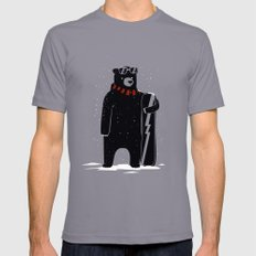 Bear on snowboard Mens Fitted Tee Slate SMALL