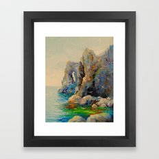 Rocks on the beach Framed Art Print