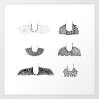 mustache Art Prints featuring Mustache by st ko ru