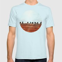 Birds on a Rooftop Mens Fitted Tee Light Blue SMALL