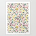 Retro Blooms (Candy) Art Print
