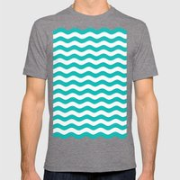 Wavy Stripes (Tiffany Blue/White) Mens Fitted Tee Tri-Grey SMALL