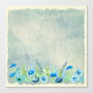 Blue Flowers In A Meadow Canvas Print