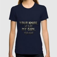 Your Knife My Back! Womens Fitted Tee Navy SMALL