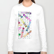 Retro 80's 90's Neon Colorful Push Candy Pop Long Sleeve T-shirt