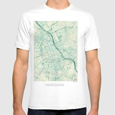 Warsaw Map Blue Vintage Mens Fitted Tee SMALL White
