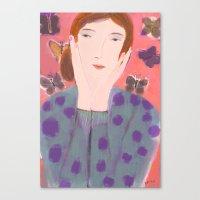 Girl In Polka Dot Sweate… Canvas Print