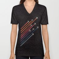 Unisex V-Neck featuring Aerial Acrobat by Budi Kwan