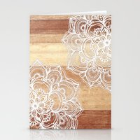 wood Stationery Cards featuring White doodles on blonde wood - neutral / nude colors by micklyn
